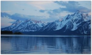 Looking West: The Grand Teton Mountain Range as viewed from the north side of Jackson Lake.